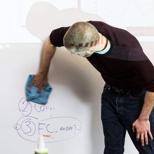 en anställd rengör en tapet för projektorns whiteboard