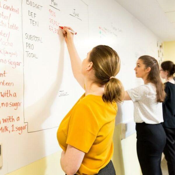 Grupparbete på en whiteboardtapetvägg