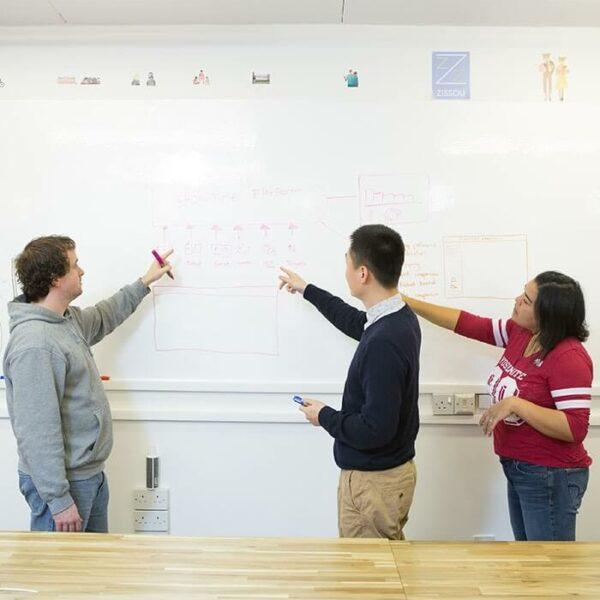 Whiteboard tapet i designen av en mobilapplikation