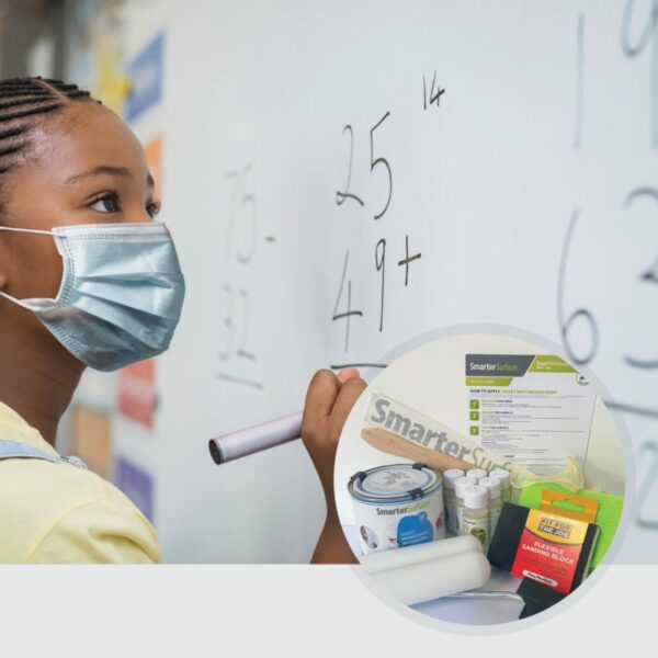 Antimikrobiell whiteboardfärg används och förpackningens innehåll