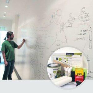Whiteboardfärg används och förpackningens innehåll